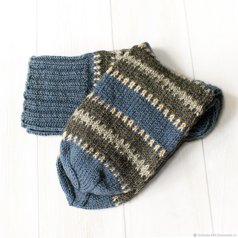 Вязаные носки мужские шерстяные серо синие Ниагара ...