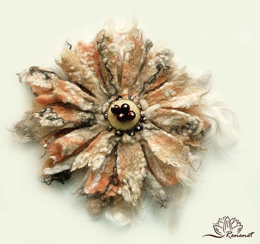"""Броши ручной работы. Ярмарка Мастеров - ручная работа. Купить Войлочный цветок """"Утро"""". Handmade. Брошь, брошь цветок"""