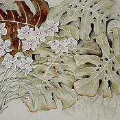 Картины и панно ручной работы. Ярмарка Мастеров - ручная работа акварельБабочки и орхидеи(китайская живопись цветы пастельные). Handmade.