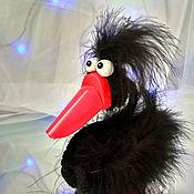 Тедди Зверята ручной работы. Ярмарка Мастеров - ручная работа Чёрный лебедь Чарльз. Игрушка из перьев. Handmade.
