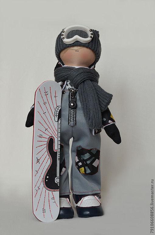 Коллекционные куклы ручной работы. Ярмарка Мастеров - ручная работа. Купить Сноубордист -гитарист. Handmade. Сноуборист, трикотаж