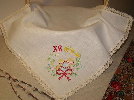 Текстиль, ковры ручной работы. Ярмарка Мастеров - ручная работа. Купить Пасхальная салфетка Яйцо в цветах 2. Handmade. Белый