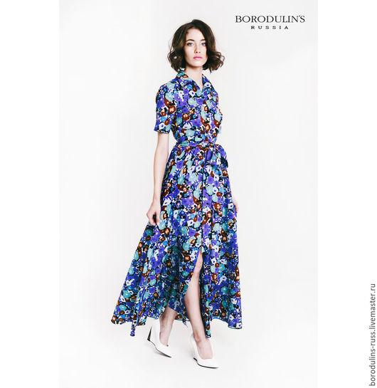 """Платья ручной работы. Ярмарка Мастеров - ручная работа. Купить Платье-рубашка""""Летний вечер"""". Handmade. Тёмно-синий, платье-рубашка"""