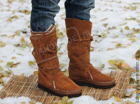 Обувь ручной работы. Ярмарка Мастеров - ручная работа. Купить Зимние Сапоги-мокасины из Замши с Мехом овчины Рыжие. Handmade.
