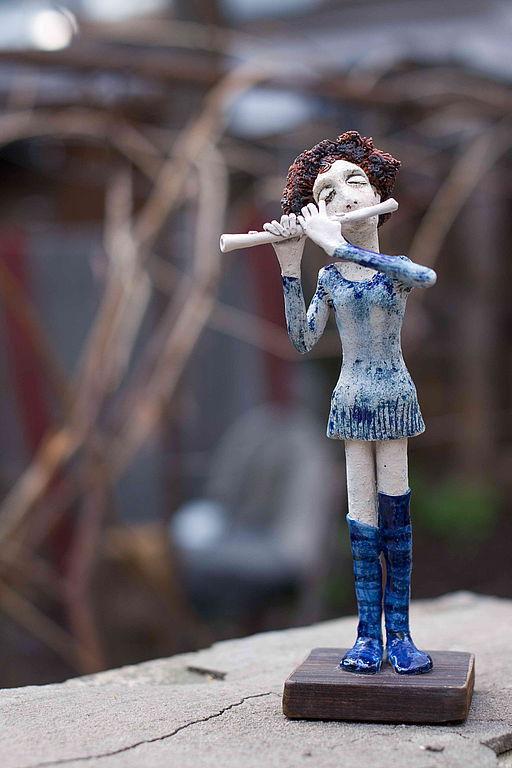 Коллекционные куклы ручной работы. Ярмарка Мастеров - ручная работа. Купить Девочка с флейтой. Handmade. Коллекционная кукла, авторская керамика