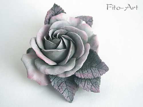 Заколки ручной работы. Ярмарка Мастеров - ручная работа. Купить Зажим для волос с серой розой.. Handmade. Серый, розовый