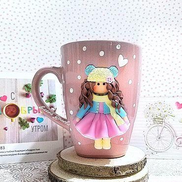 Посуда ручной работы. Ярмарка Мастеров - ручная работа Подарок для девочки Кружка с куколкой из полимерной глины. Handmade.