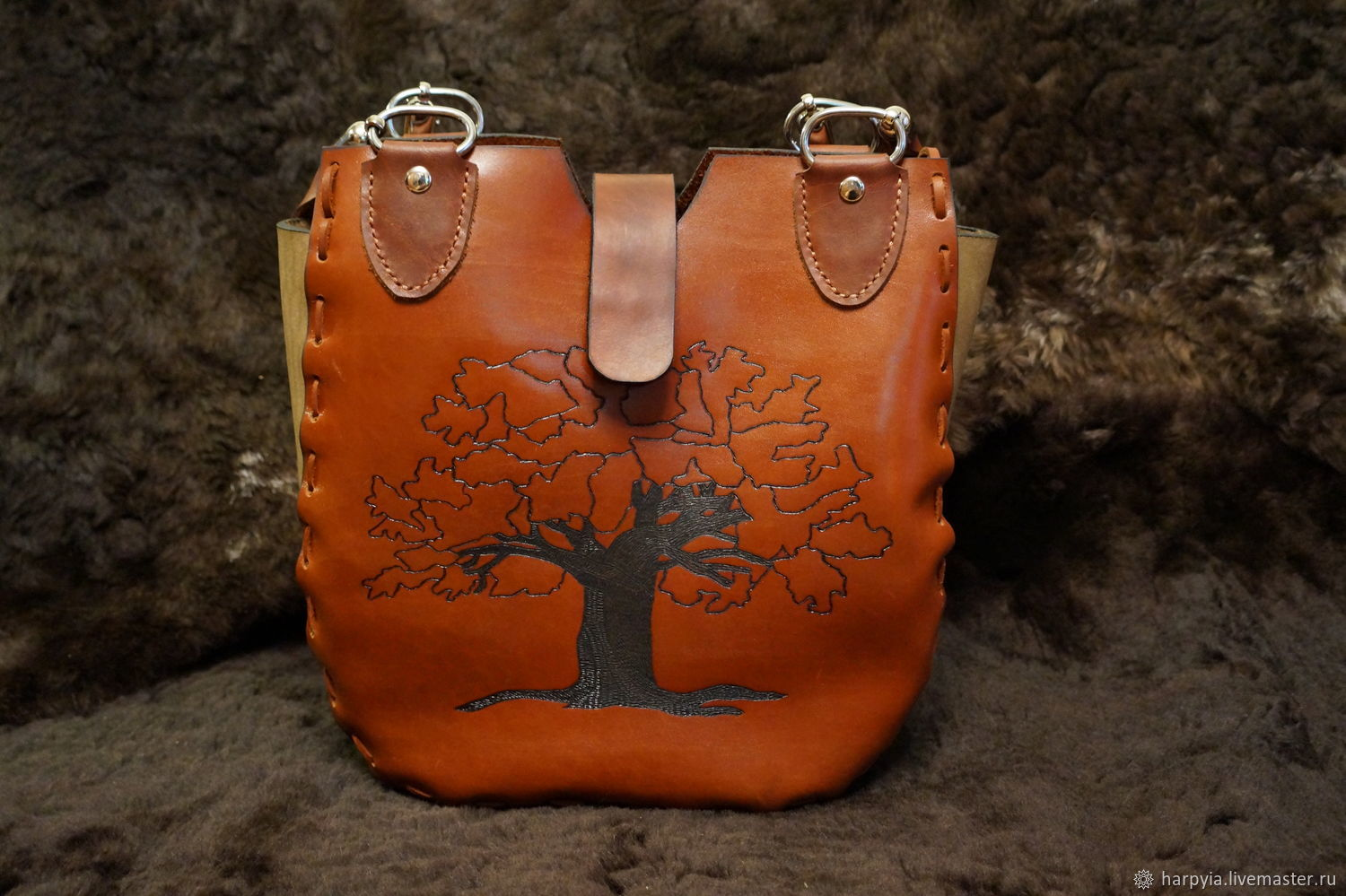 Leather Bag with Pyrography Tree,Handmade,Leather Tote,Totes,handmade, Classic Bag, Moscow,  Фото №1