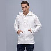 Одежда ручной работы. Ярмарка Мастеров - ручная работа Белая летняя рубашка с капюшоном из хлопка. Handmade.