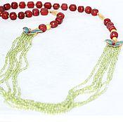 Necklace handmade. Livemaster - original item Beads-a necklace of Jasper with peridot. Handmade.