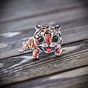 Украшения handmade. Livemaster - original item Wood badge Tiger. Handmade.
