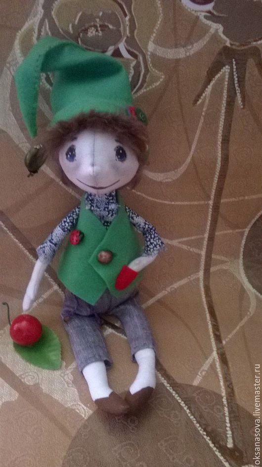 Куклы тыквоголовки ручной работы. Ярмарка Мастеров - ручная работа. Купить Лесной гном Карлуша. Handmade. Зеленый, текстильная кукла