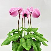 Цветы и флористика ручной работы. Ярмарка Мастеров - ручная работа Розовый цикламен из полимерной глины. Handmade.