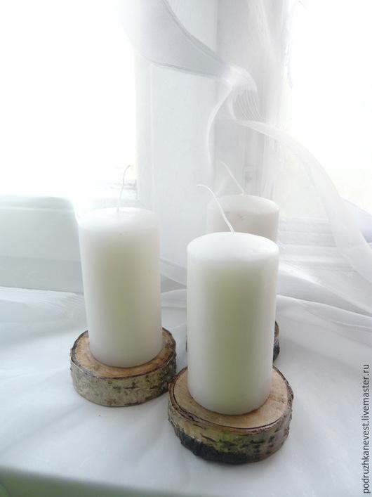 Свечи ручной работы. Ярмарка Мастеров - ручная работа. Купить Свечи на деревянной подставке. Handmade. Белый, подставки, свадьба, дерево