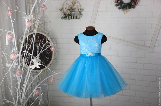 Одежда для девочек, ручной работы. Ярмарка Мастеров - ручная работа. Купить Нарядное платье для девочки. Handmade. Бирюзовый, Платье на Новый год