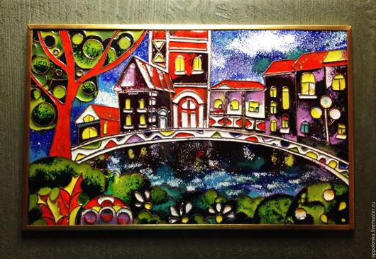 """Город ручной работы. Ярмарка Мастеров - ручная работа. Купить картина """"Домики"""". Handmade. Комбинированный, картина, картина для настроения, город"""