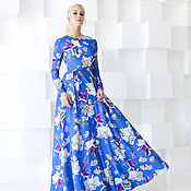 Одежда handmade. Livemaster - original item Blue floral dress , blue-white dress to the floor. Handmade.