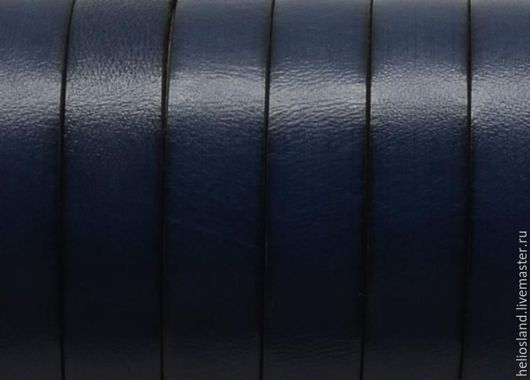 Для украшений ручной работы. Ярмарка Мастеров - ручная работа. Купить Кожаный шнур плоский 10 мм, серо-синий. Handmade.
