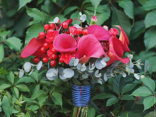 Свадебные цветы ручной работы. Ярмарка Мастеров - ручная работа. Купить Букет невесты из калл. Handmade. Ярко-красный, свадьба