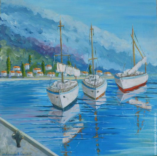 """Пейзаж ручной работы. Ярмарка Мастеров - ручная работа. Купить Картина """"У причала"""". Handmade. Голубой, морской пейзаж, горы"""
