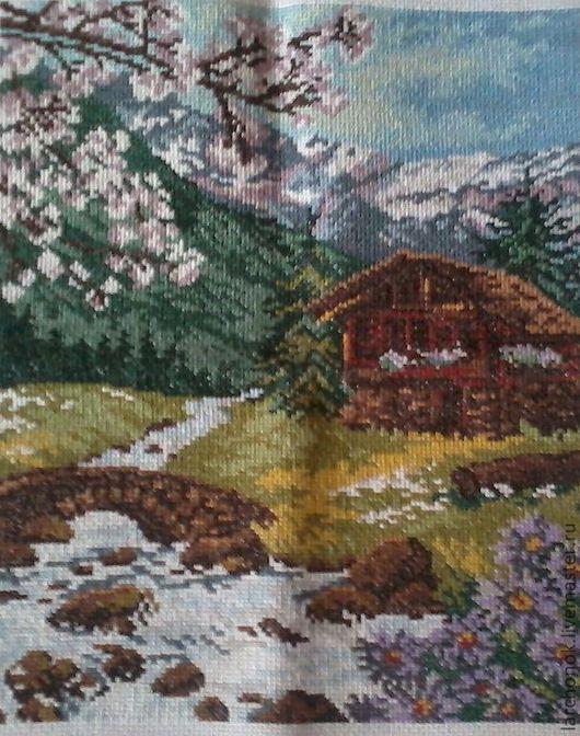 Пейзаж ручной работы. Ярмарка Мастеров - ручная работа. Купить Горный пейзаж. Handmade. Вышитая картина крестиком, горный пейзаж