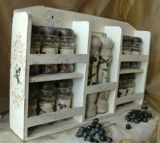 """Кухня ручной работы. Ярмарка Мастеров - ручная работа. Купить """"Олива"""" полочка с набором баночек для специй. Handmade. Бежевый, прованс"""