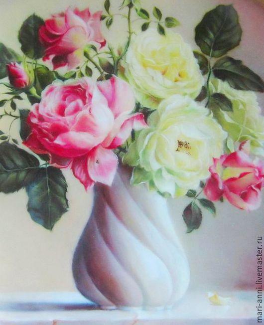 Шкатулки ручной работы. Ярмарка Мастеров - ручная работа. Купить Лаковая миниатюра. Нежные розы.. Handmade. Цветы в вазе, мрамор