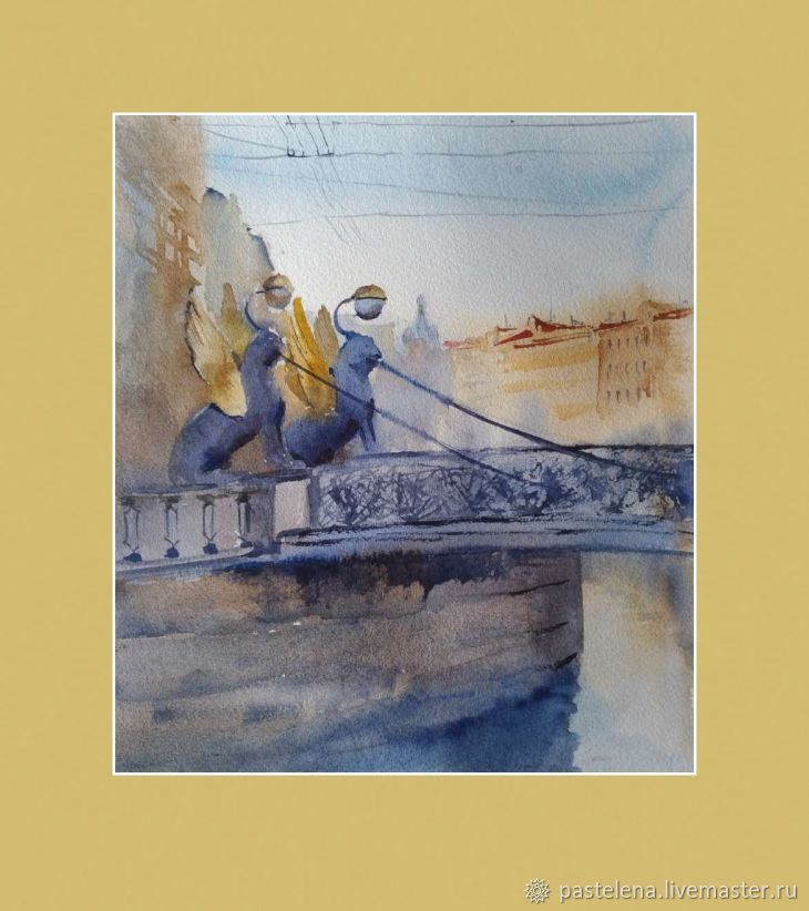 Urban landscape in watercolor Petersburg (griffins gray-blue ochre painting), Pictures, Yuzhno-Uralsk,  Фото №1