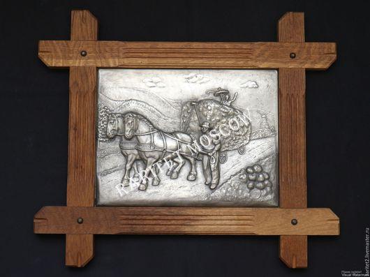 Винтажные предметы интерьера. Ярмарка Мастеров - ручная работа. Купить Панно картина конь олово дуб Германия 31. Handmade.