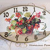 Часы классические ручной работы. Ярмарка Мастеров - ручная работа Часы настенные Настурция. Handmade.