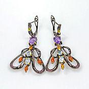 Украшения handmade. Livemaster - original item Earrings handmade silver with amethysts Topaz opals rhodolites. Handmade.