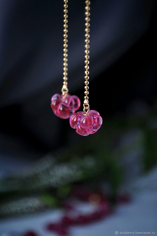 Crimson earrings - long gold-plated chain earrings, Earrings, Moscow,  Фото №1