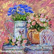 """Картины и панно ручной работы. Ярмарка Мастеров - ручная работа """"Натюрморт в Стиле Прованс"""" картина маслом с цветами (розы, васильки). Handmade."""