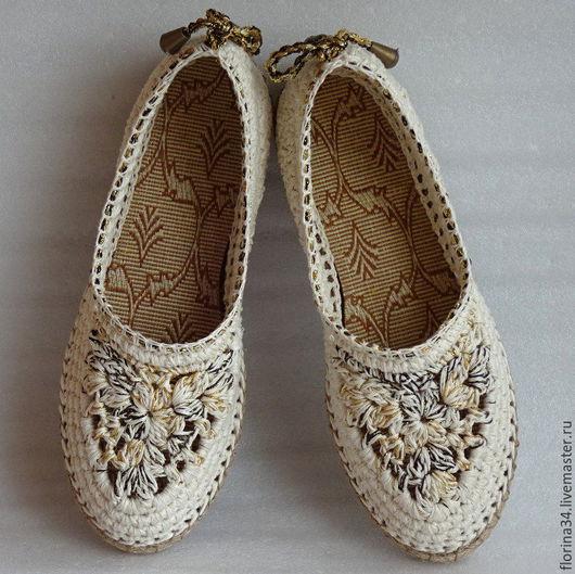 Обувь ручной работы. Ярмарка Мастеров - ручная работа. Купить Балетки вязаные Helen, р.40, лен, белый. Handmade.