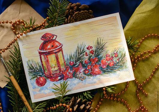новогодний фонарь акварелью от Safania