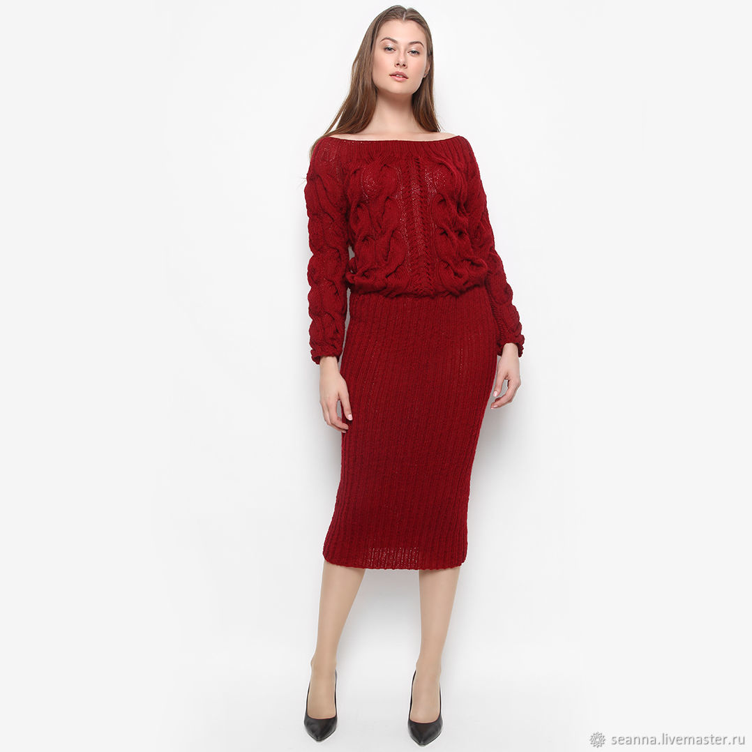 109932ba6d9 Платья ручной работы. Ярмарка Мастеров - ручная работа. Купить Платье  вязаное вручную Черешневые Косы ...