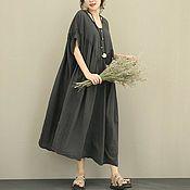 Одежда handmade. Livemaster - original item dimensionless dress grey with an interesting yoke. Handmade.