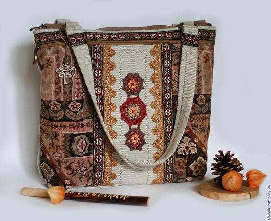 Сумка в стиле бохо, этническая сумка, льняные сумки и рюкзаки ручной работы, автор Юлия Льняная сказка