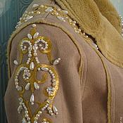 Одежда ручной работы. Ярмарка Мастеров - ручная работа Дублёнка вышивка Золотые узоры. Handmade.