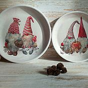 Сувениры и подарки handmade. Livemaster - original item Dwarves. Panels / Set of decorative plates, country, vintage. Handmade.