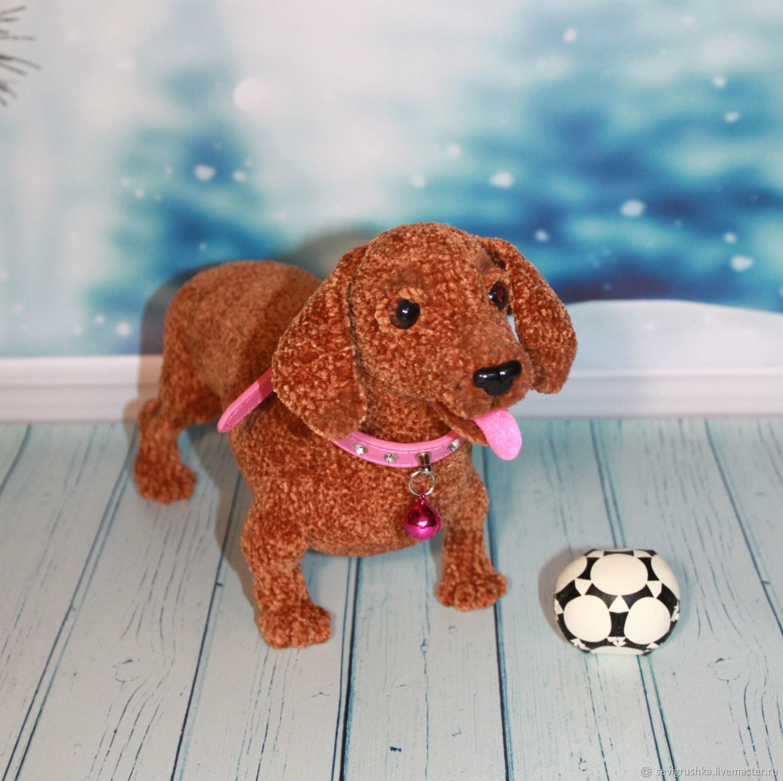 Soft toys: Dog Dachshund. Dachshund. Dog knitted, Stuffed Toys, Kandalaksha,  Фото №1