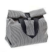 Классическая сумка ручной работы. Ярмарка Мастеров - ручная работа Сумочка для ланча/для обедов, размер Стандарт, Черно-белая. Handmade.