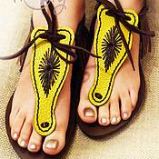 """Обувь ручной работы. Ярмарка Мастеров - ручная работа Кожаные сандалии """"Sexy Yellow"""". Handmade."""