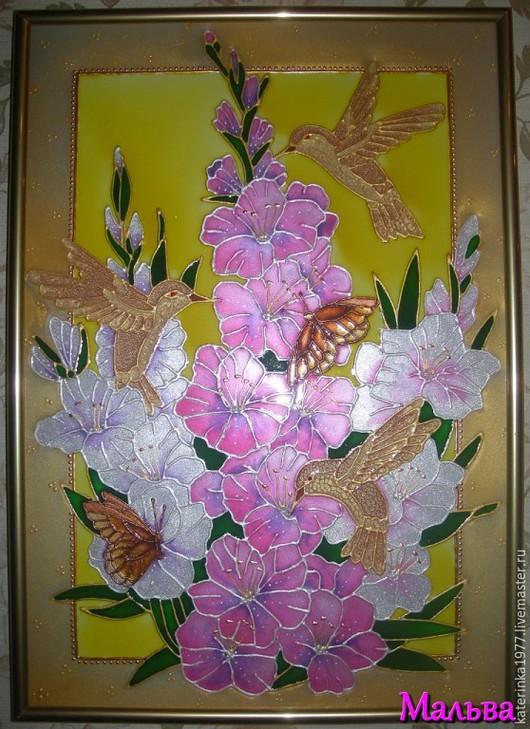 Гладиолусы... Картина в технике витражной росписи по стеклу с использованием перламутровых и красок металлик по стеклу и керамике, а так же витражных красок.