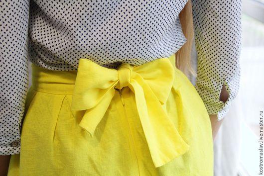юбка в складку из хлопка,длинная юбка в складку из хлопка со льном, юбка в пол из хлопка на лето
