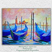 """Картины ручной работы. Ярмарка Мастеров - ручная работа """"Золотая венеция"""" картина с Венецией и лодками. Handmade."""