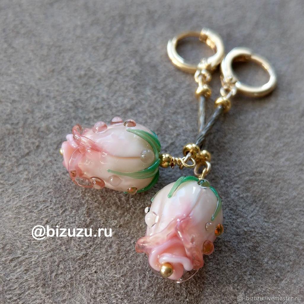 """Серьги """"Peach rose"""", Серьги классические, Москва,  Фото №1"""