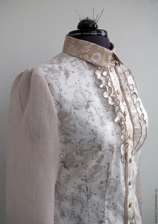 Блузки ручной работы. Ярмарка Мастеров - ручная работа. Купить Блузка из хлопка светлая с принтом.. Handmade. Белый, хлопок 100%