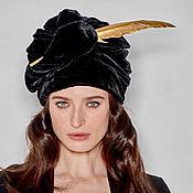 Аксессуары handmade. Livemaster - original item Black velevt turban hat hijab with feather. Handmade.