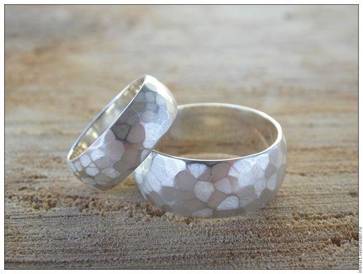 Свадебные украшения ручной работы. Ярмарка Мастеров - ручная работа. Купить Граненые обручальные кольца из серебра под заказ. Handmade.